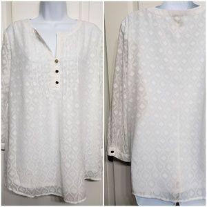 St. Johns Bay white sheer blouse